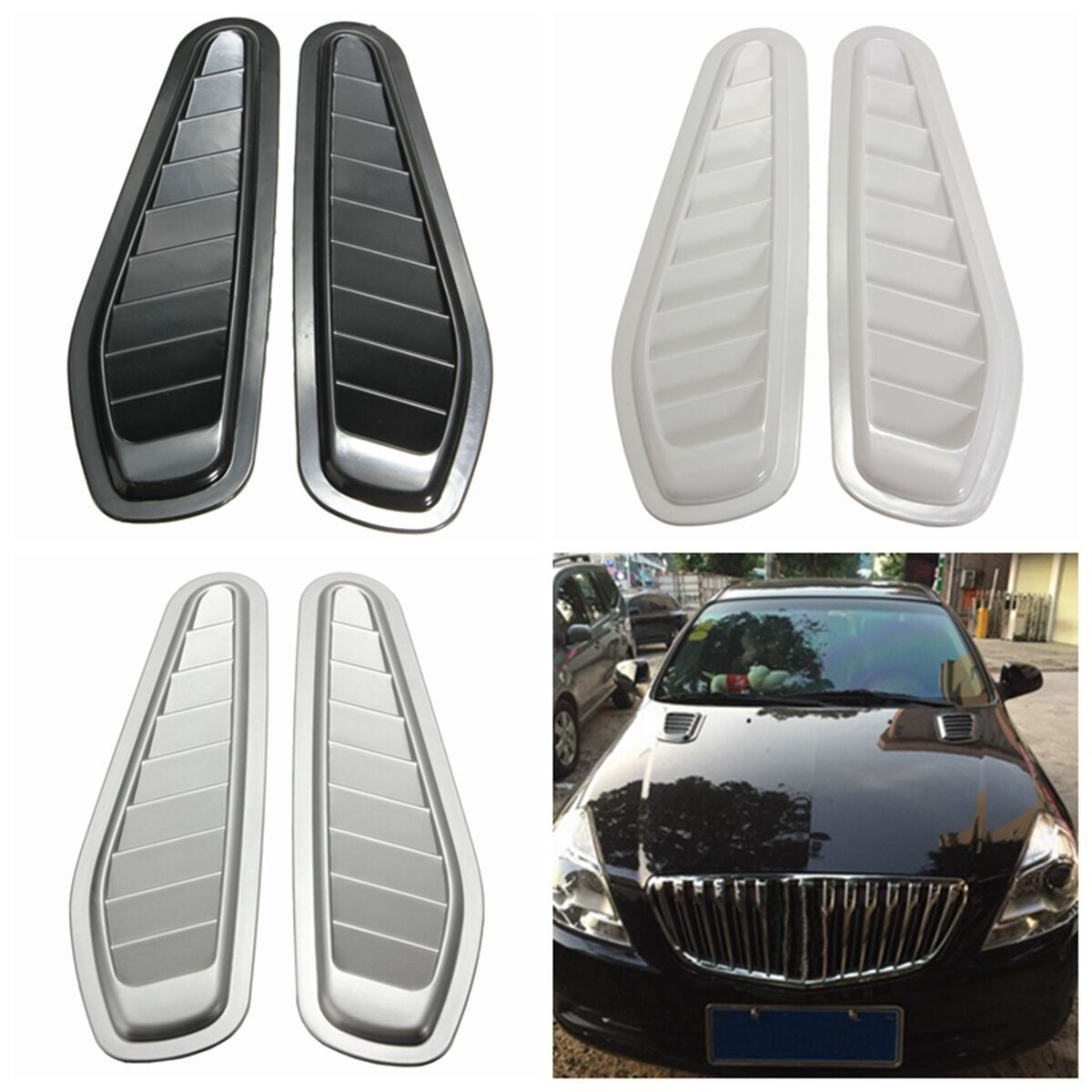 1 Pair Car Auto Decorative Air Flow Intake Scoop Turbo Bonnet Vent Cover Hood For Fender Black /White /Grey Car Styling new 2x car decorative air flow intake scoop turbo bonnet vent cover hood for fender