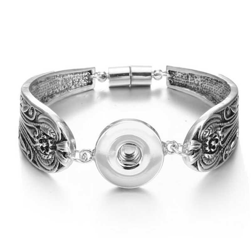 แม่เหล็กBohemianนาฬิกาผู้หญิงเครื่องประดับหนึ่งทิศทางPulserasใหม่ล่าสุดVintageโลหะ 18 มม.ปุ่มSnapสร้อยข้อมือ