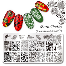 BORN PRETTY 1 Pc Nail Stamping Plate Celebration New Year Manicure Rectangle Nail Art Template Image Plate BPX-L013