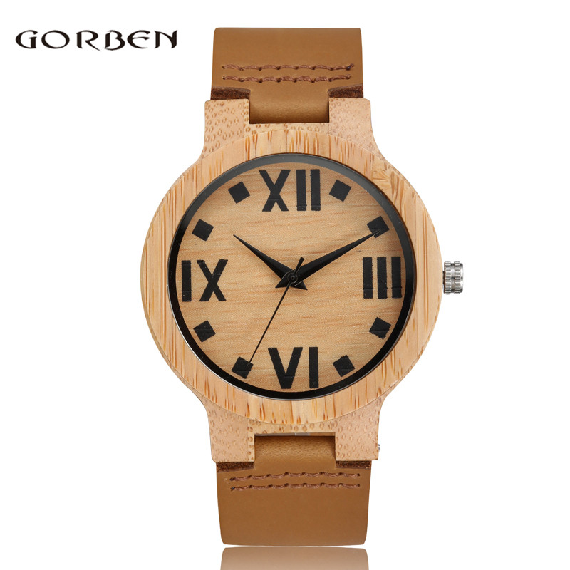 2017 GORBEN Brand Wooden Quartz Mens Watch New Leather Big Roman Number Nature Bamboo Women Analog Quartz Wristwatches Box Gifts