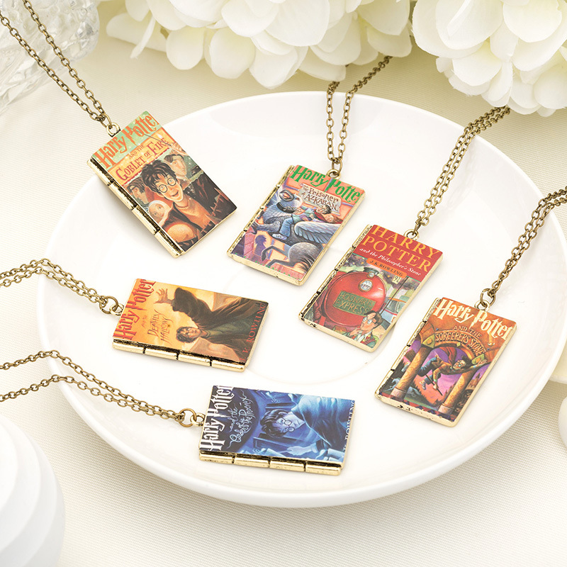 Octbyna Hot Selling Movie Harry Potter Hogwarts School Square Magic Book Series Pendant Necklace for Men Women Tiestyle Gift
