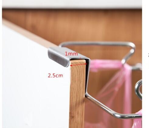 Kitchen Door Hanging Handbag Trash Holder Stainless Steel Cabinet Door Back Cloth Pendant Trash Storage Shelf