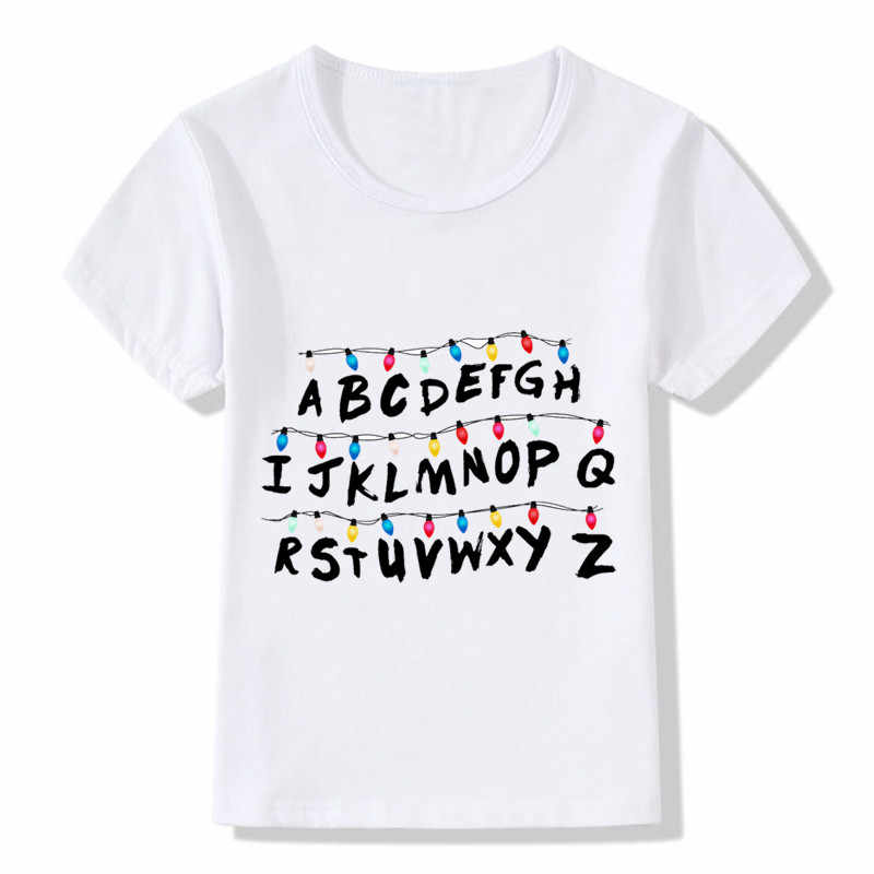 Children Fashion Stranger Things Will's Message Design T-Shirt Kids Baby Red Logo Clothes Boys Girls Summer Tops Tees,HKP5061