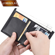 JINBAOLAI Men Wallets For Mens Genuine Leather Mini Wallet Brand Short Cowhide Purse Male Slim Pouch Card Holder carteira