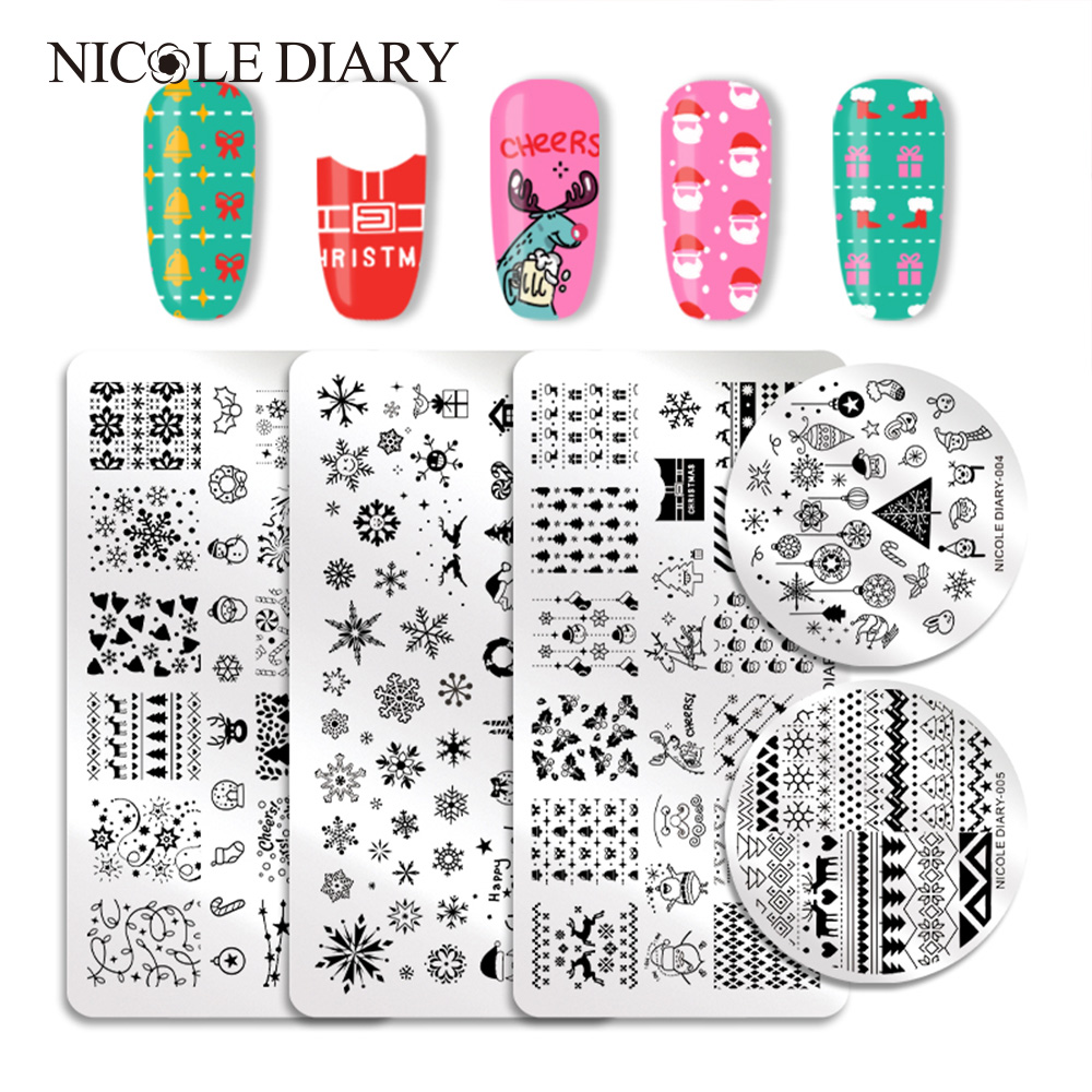 NICOLE DIARY Christmas Nail Stamping Plate Rectangle Round Overprint Series Nail Stamp Image Template Manicure Stencil Nail Tool