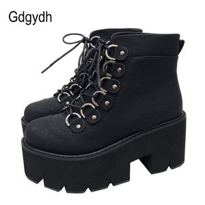 Image 2 - Gdgydh 2020 New Ankle Shoes Women Lacing Motorcycle Boots Square Heels Casual Shoes Autumn Platform Heels Leather Short Boots