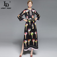 2017 Summer Maxi Dresses Long Sleeve Long Dress Women Elegant A Line Loose Beading Black White