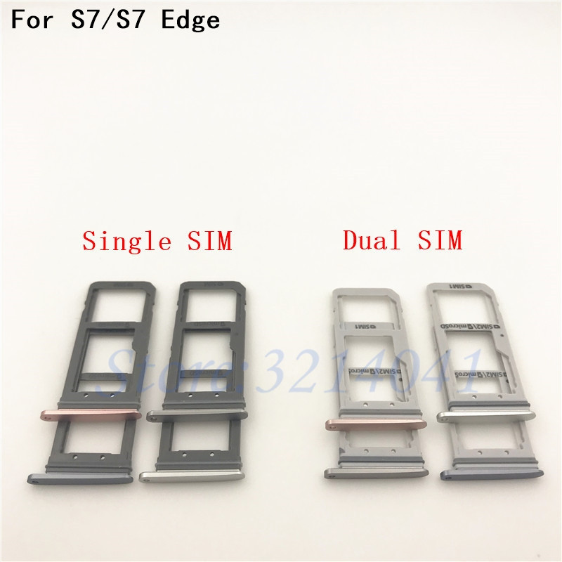 New Dual SIM/ Single SIM Micro SD Card Holder for Samsung Galaxy S7 G930F/ S7 Edge G935F OEM SIM Card Tray Slot Replacement Part image