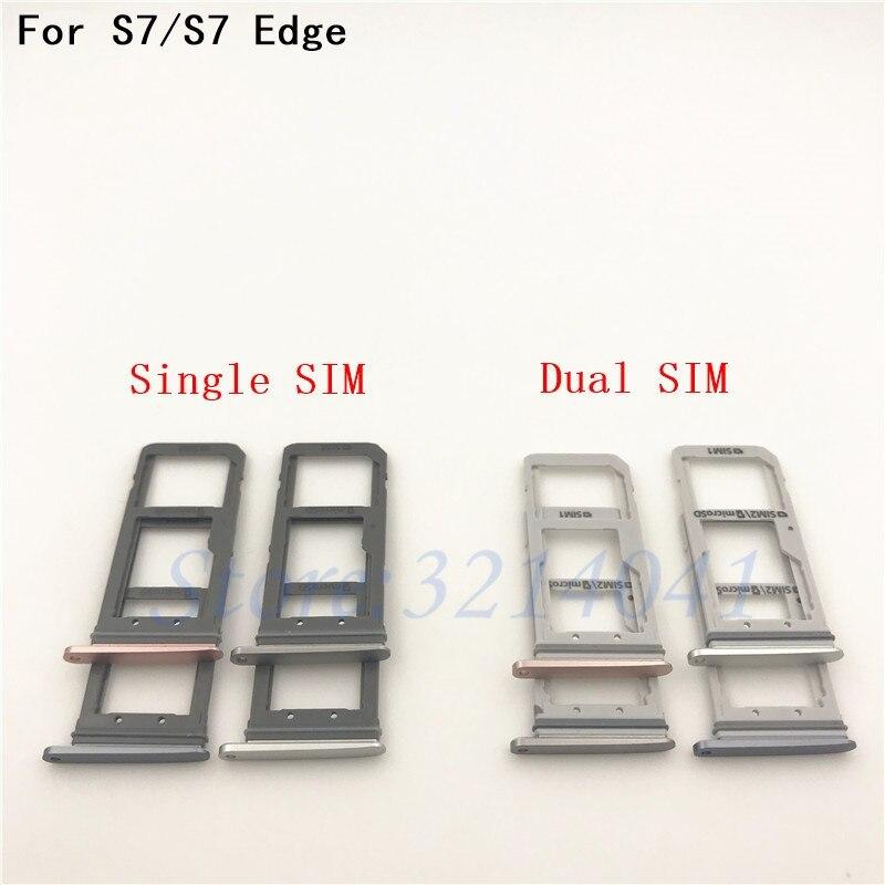New Dual SIM/ Single SIM Micro SD Card Holder for Samsung Galaxy S7 G930F/ S7 Edge G935F OEM SIM Card Tray Slot Replacement Part