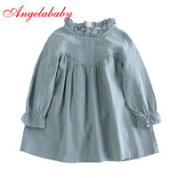 Retail Children Girl Spring Cotton And Linen Dress Vintage Baby Girl Loose Shirt Dress High Quality