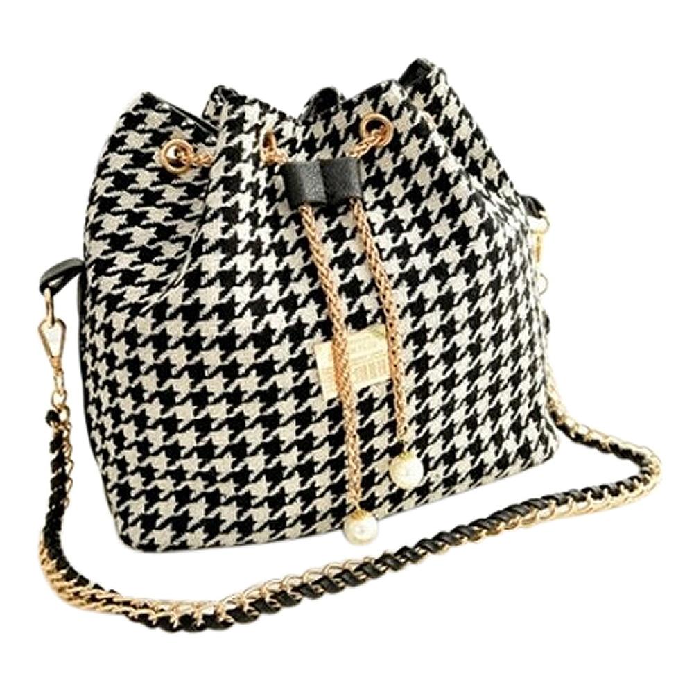 Wholesale 10Pcswomen Houndstooth Bag Chains Bucket Bag Canvas Patchwork Shoulder Bag Messenger Bag Black And White Grid