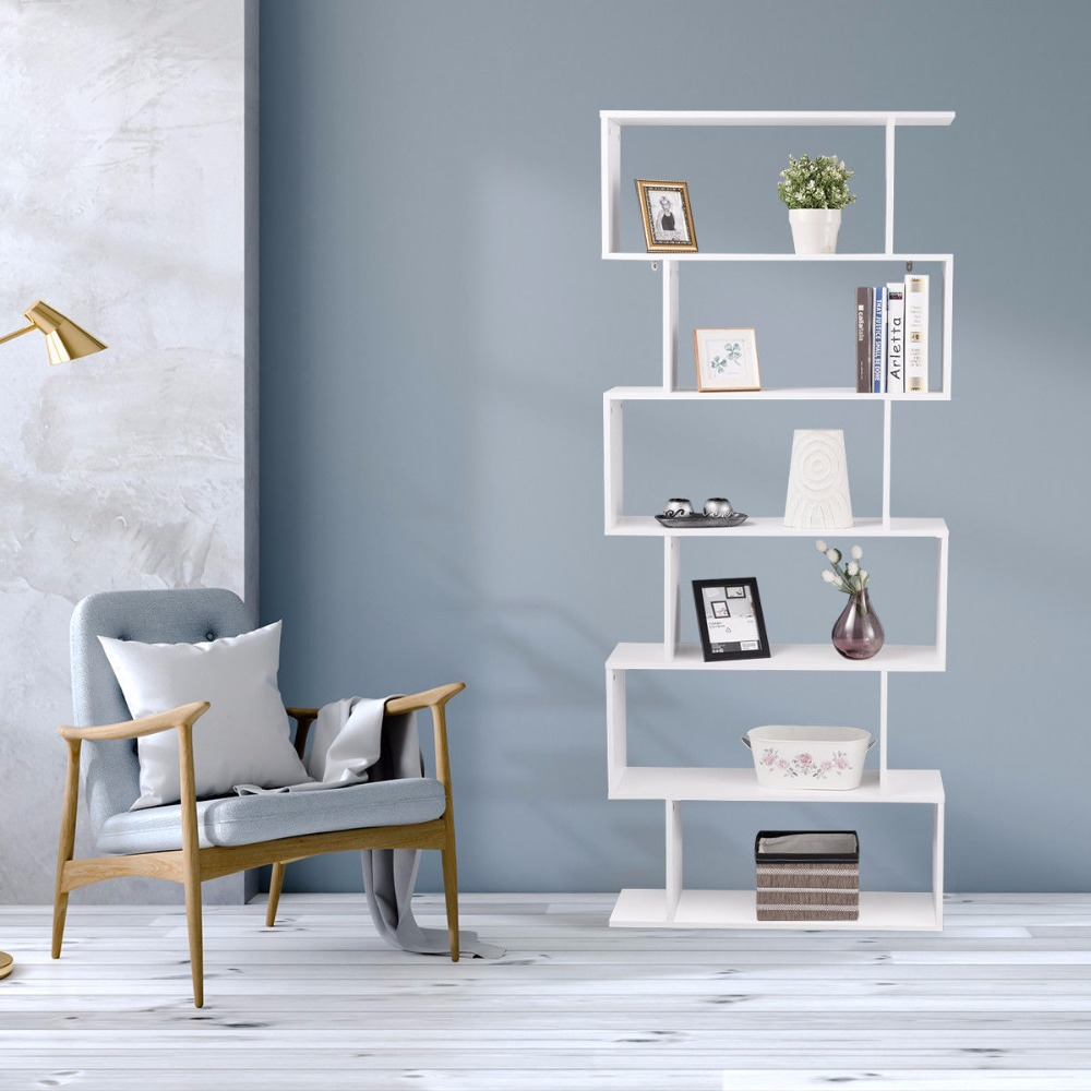 Giantex 6 Tier S Shaped Bookcase Z Shelf Style Storage Display Modern Bookshelf Home Furniture HW59445|  - title=