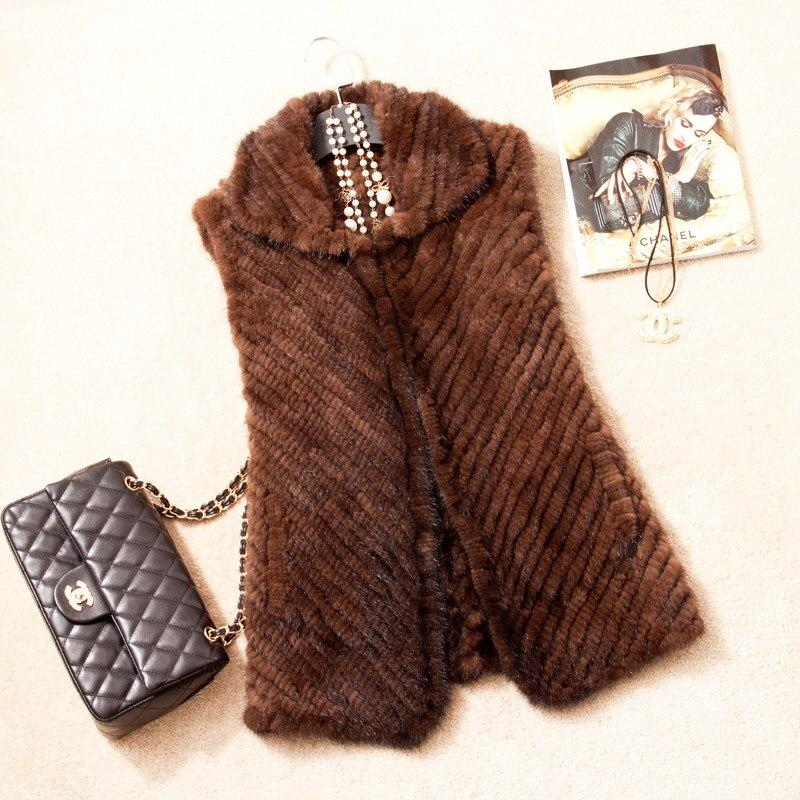2016 Autumn Winter Women s Real Genuine Knitted Mink Fur Waistcoat Turn down Collar Women Fur