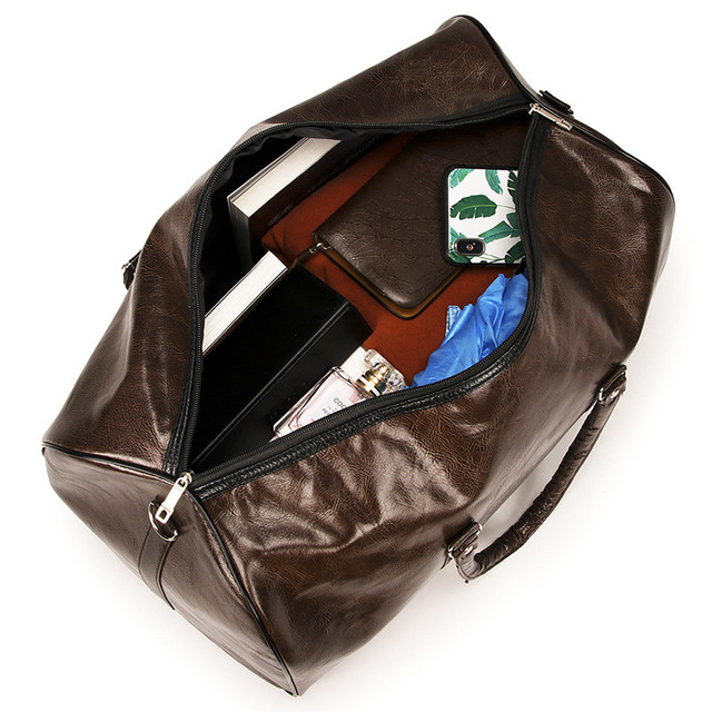 Кожаная Дорожная сумка большая емкость Водонепроницаемый чемодан мужские даффл сумки Carry on Travel Tote выходные чемодан ночь