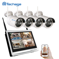 Techage 4CH LCD Monitor Wireless NVR Kit Wifi CCTV Camera System 960P 1.3MP Outdoor Security Camera Video Surveillance System