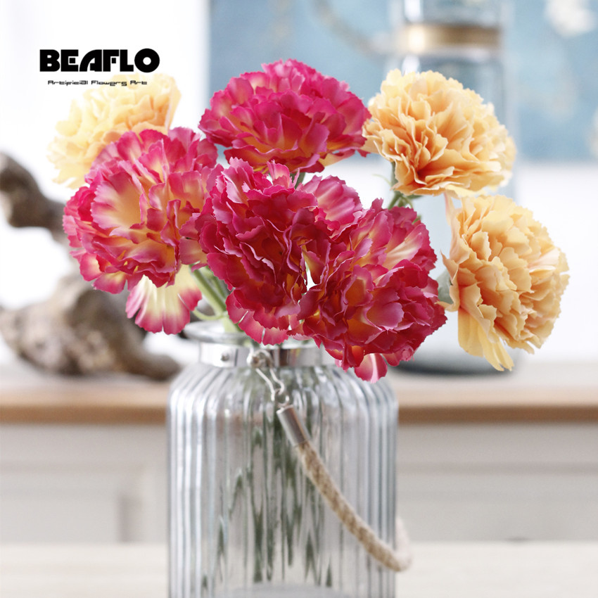 1pc French Artificial Carnation Flower Bouquet Fake Silk Floral Arrange Table Home Wedding Decoration Party Accessory Flores fake rose flowers
