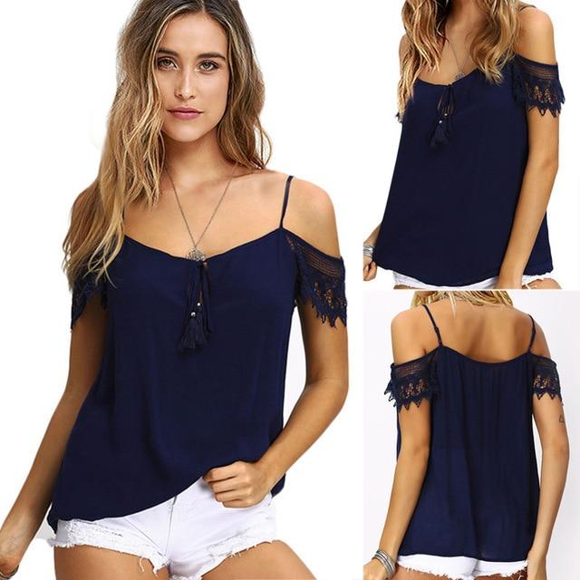 New Solid camisetas Summer t-shirts Fashion Tops 2017 Punk Rock tee shirt femme Off the Shoulder Strap T Shirt Women