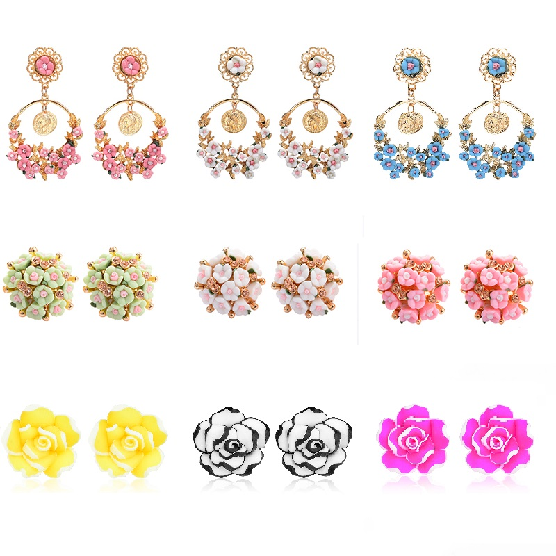 QCOOLJLY <font><b>Trendy</b></font> <font><b>Cute</b></font> <font><b>Pink</b></font> Yellow <font><b>Flower</b></font> <font><b>Earrings</b></font> <font><b>For</b></font> <font><b>Women</b></font> Girls Jewelry Female Gold Metal Round Circle Stud <font><b>Earrings</b></font> image