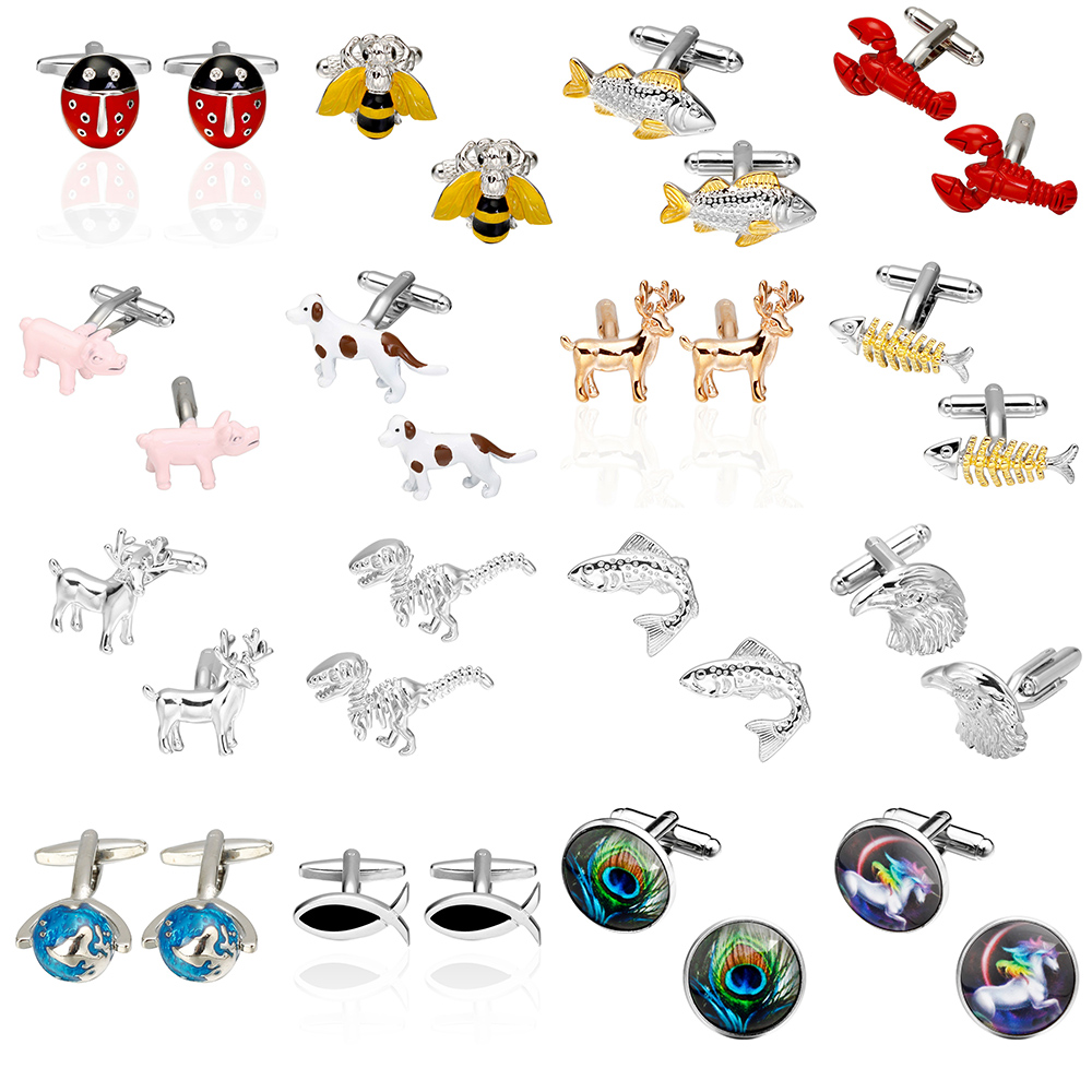 Memolissa 2018 High Quality Bee Fish Lobster, Pig, Dog, Dinosaur Deer horse Cufflinks Vehicle animals Cuffs