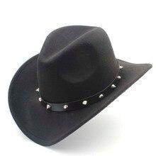 Lana de las mujeres Fieltro sombrero de vaquero occidental con Roll-up de ala  ancha Caballero señora Jazz vaquera remache punky . 323bec1b23e