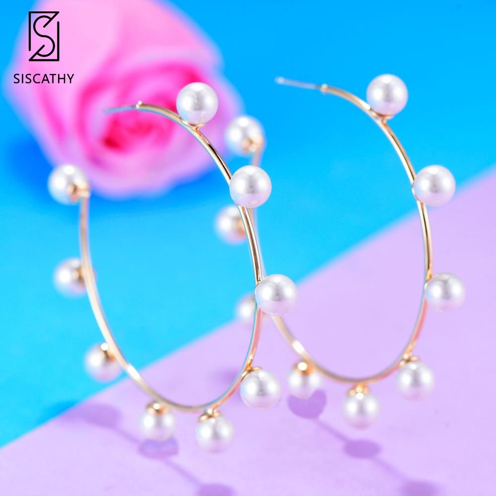 2019 New Fashion Handmade Women Jewelry Elegant Pearl Earrings Statement Gold Hoop Earrings Noble Symbol for Women Jewelry in Hoop Earrings from Jewelry Accessories