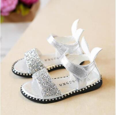 Hot Sale Baby Girl Sandals Fashion Bling Shiny Rhinestone Girls Shoes With Rabbit Ear Kids Flat Sandals 13-22CMHot Sale Baby Girl Sandals Fashion Bling Shiny Rhinestone Girls Shoes With Rabbit Ear Kids Flat Sandals 13-22CM