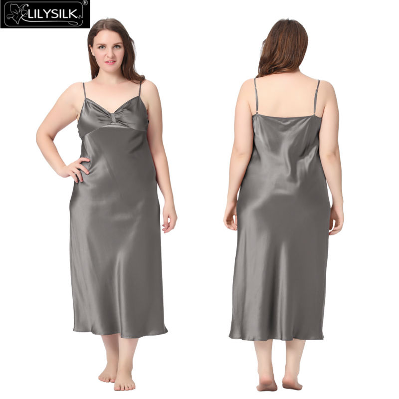 1000-dark-gray-22-momme-gathered-bowknot-neck-silk-nightgown-plus-size-01