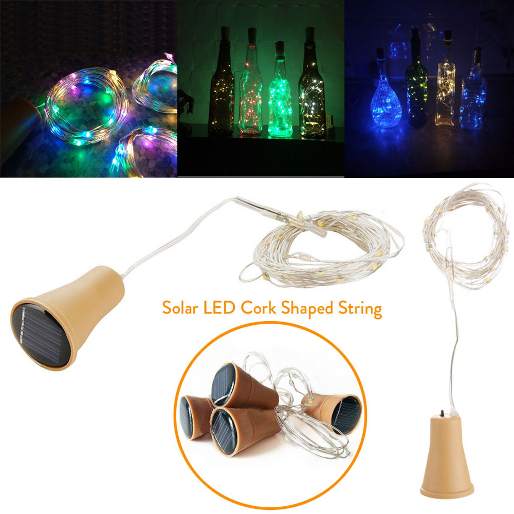 1M 10LED 1.5M 15LED 2M 20LED Solar Powered Wine Bottle Cork Shaped LED Copper Wire String Light Copper Garland Wire Fairy String