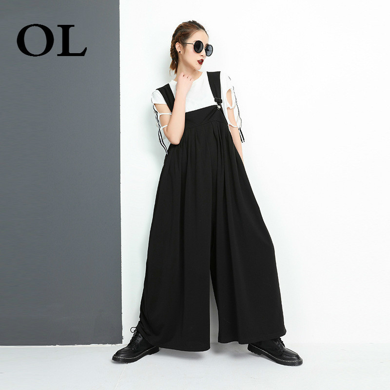 [OL] 2018 Summer New Fashion Black Loose Strapless Personality Casual Knitting Wide Leg Pants Womans Jumpsuits Tide S248