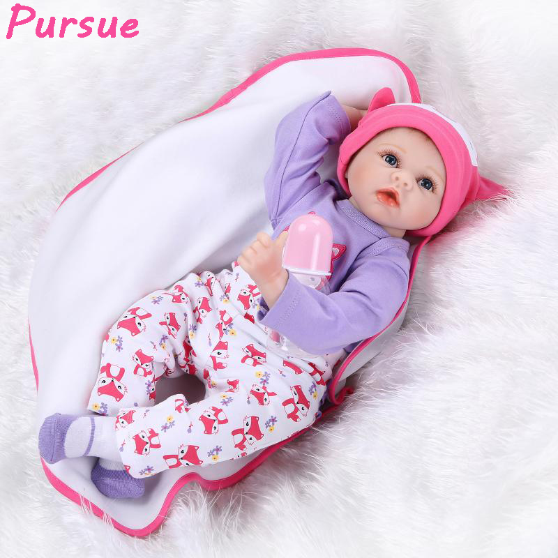 Pursue Blue Eyes Princess Reborn 55cm Silicone Baby Dolls Adora Doll for Girls Kids bebe reborn menina de silicone reborn babies алексей ведёхин сказка модерн болотный киберпанк