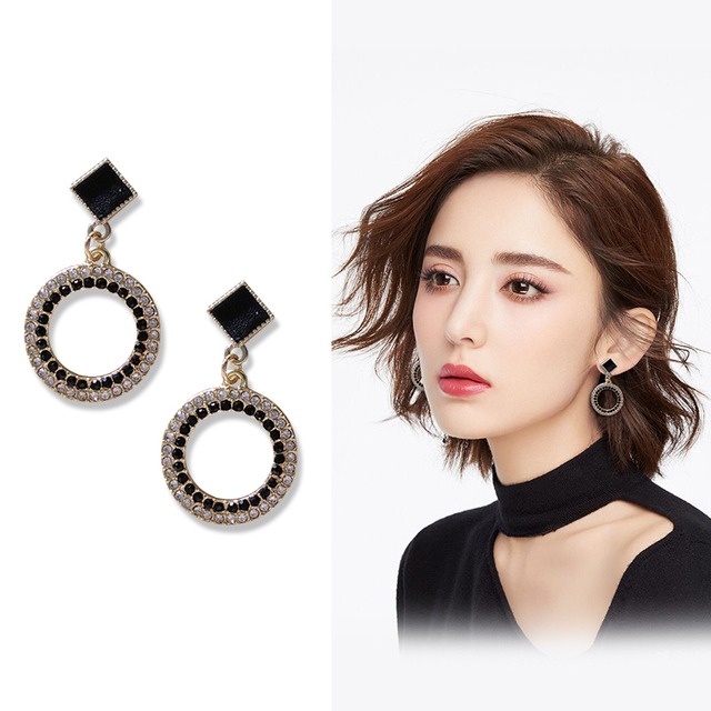 Black Crystal Metal Round Clip Earring NO Pierced With Stone White Rhinestone Elegant Clip on Earrings Without Piercing Ear Hole