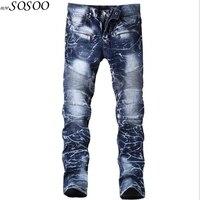 Brand mens jeans blue printing design denim creases fashion designer jeans men high quality #6501