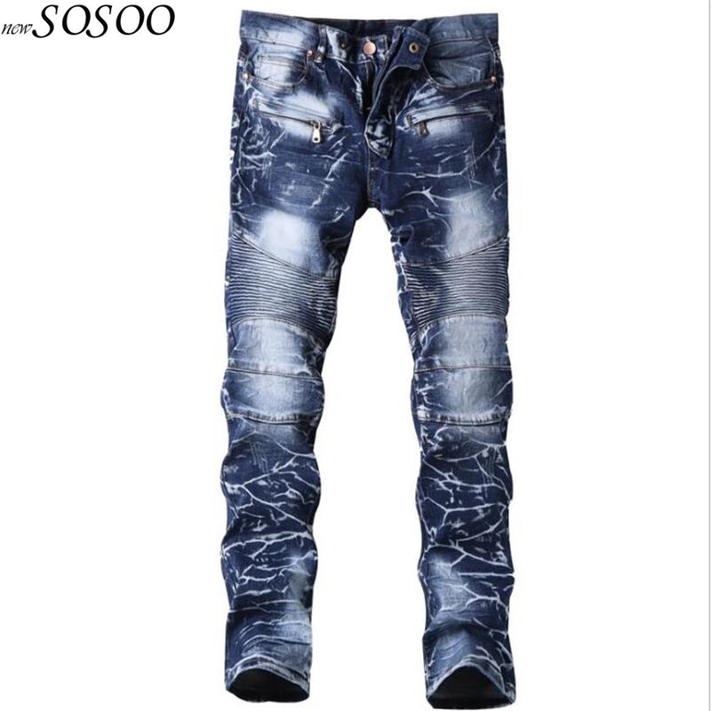 Brand mens   jeans   blue printing design denim creases fashion designer   jeans   men high quality #6501