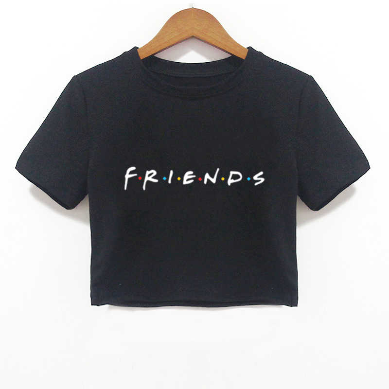 2018 Summer Women Crop Top Shirt FRIENDS Letter Harajuku Print Black Tees Women Short Sleeve O-Neck T-shirt Camiseta Feminina