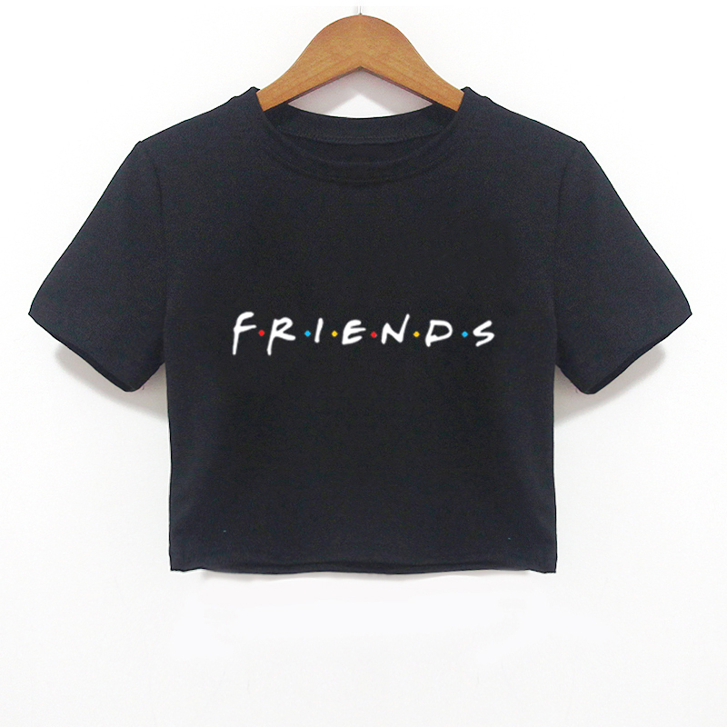 2018 Summer Women Crop Top Shirt FRIENDS Letter Harajuku Print Black Tees Women Short Sleeve O-Neck T-shirt Camiseta Feminina