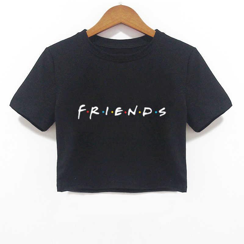 2018 letnie kobiety Crop koszula przyjaciele list Harajuku druku czarny Tees kobiety krótki rękaw, dekolt koszulka Camiseta Feminina