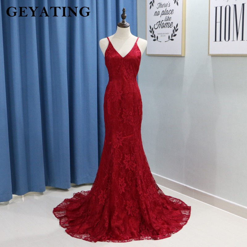 Sexy V neck Spaghetti Straps Burgundy Lace Mermaid Prom Dresses 2018 Long Open  Back Evening Gowns Women Special Occasion Dress-in Prom Dresses from  Weddings ... b42922a58