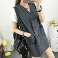 2017 Summer Fashinal New Paragraph Large Size Wild Vest Female Pure Color Denim Women Dress Loose Vest Double-breasted Jacket