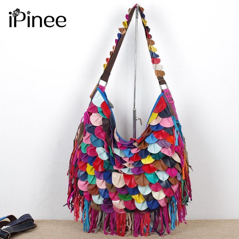 Ipinee 여자 핸드백 정품 가죽 브랜드 가방 여성 tessels 어깨 가방 고품질 다채로운 패턴 여성 메신저 가방-에서숄더 백부터 수화물 & 가방 의  그룹 1