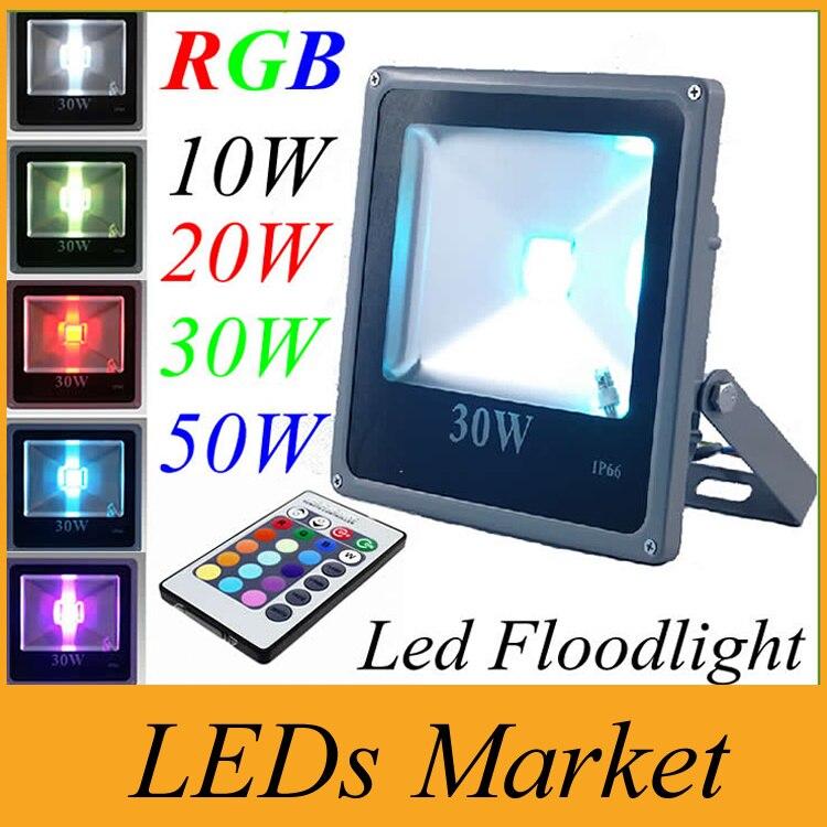 O rgb conduziu o projector 10 w 20 w 30 w 50 w waterproof exterior conduziu luzes de inundação ip66 conduziu luzes de inundação ac 85-265 v paisagem luz