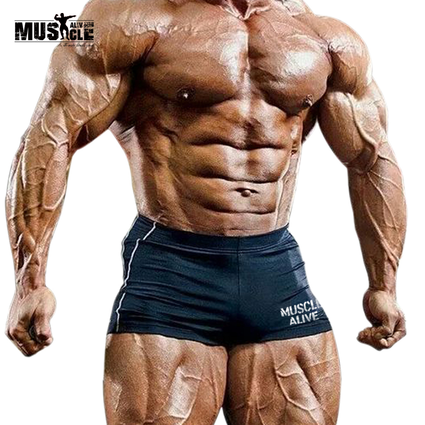 MUSCLE ALIVE Slim Men's Shorts Compression Short Masculino Men Bodybuilding Leggings Clothing Active Bermudas Masculina De Marca