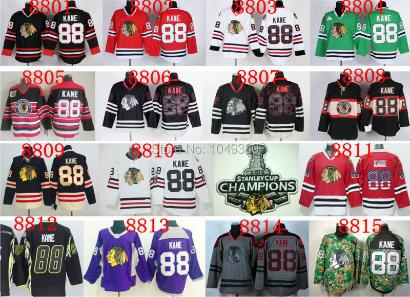 014d8507323 Online Shop Wholesale Chicago Blackhawks  88 Patrick Kane Jersey Red White  Black Green 100% Stitched Cheap Ice Hockey Jerseys Free Shipping