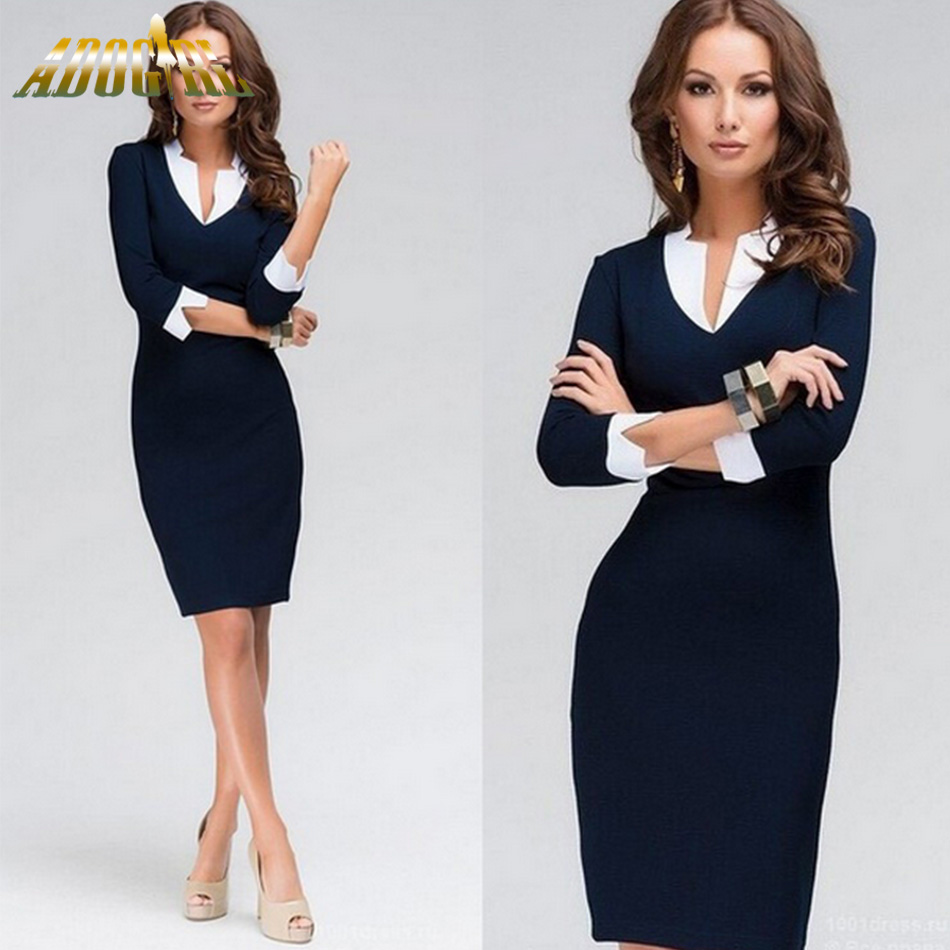 1da98eea730 Dark Blue Office Dress Sexy V-Neck Three Quater Sleeve Patchwork Bodycon  Pencil Dress Elegant