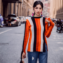 2017 Autumn Winter Colorful Patchwork O-neck Striped Knitted Sweater Women Soft Slit Sleeve Warm Flare Sleeve Elastic Pullovers