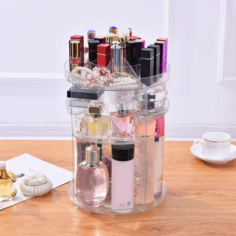NEW Clear Makeup Organizer Rotatable Cosmetic Jewelry Storage Holder for Lipsticks Eyeshadow Nail Polish