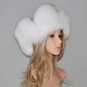 Image 4 - Женская шапка бомбер из натурального Лисьего меха, теплая шапка из натурального меха лисы хорошего качества, новинка зимы 2020