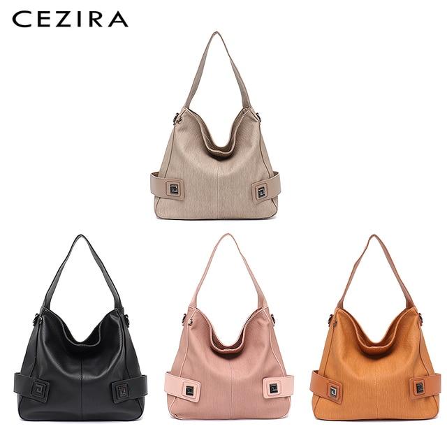 CEZIRA Casual Large Hobo for Women High Quality Vegan Leather Handbags Female Shoulder Bag  Ladies Fashion design Messenger Bag 1