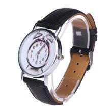 New Style Women Student Cute Leather Clock Quartz Wristwatch Clock Pattern White/Black/Beige/Pink/Mint Green Women Casual Watch
