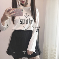 2017 New Fashion Lace Mesh High Haist Geometric Print Casual Preppy Style Skirts Harajuku Mori Girls