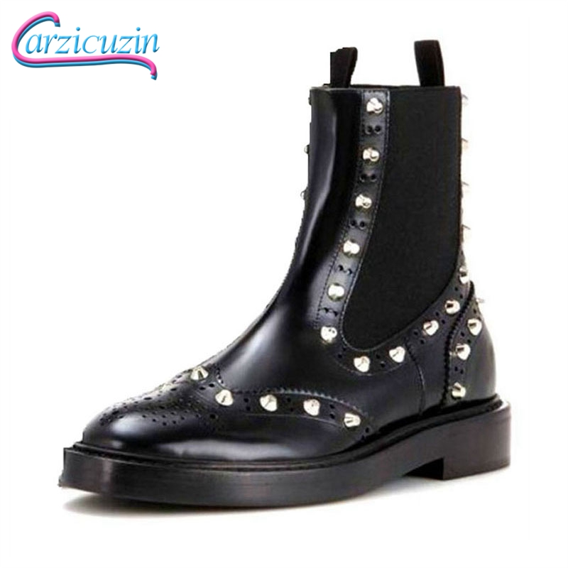KemeKiss Genuine Leather Women Boots Rivets Motorcycle Ankle Boots Flats Winter Shoes Women Warm Short Footwear Size 33-40KemeKiss Genuine Leather Women Boots Rivets Motorcycle Ankle Boots Flats Winter Shoes Women Warm Short Footwear Size 33-40